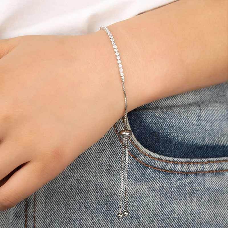 Charm Bracelet Women Crystal Full Rhinestone Gold Silver Color Metal Link Chain Bangle Jewelry Accessories Wristbands Adjustable