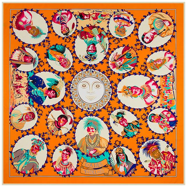 Las mujeres de La Bufanda de 51 pulgadas 130 cm Pañuelo Bufanda de Seda Twill Tela India Patrón Moda Marca Mujeres Chal Bufandas SH1510202