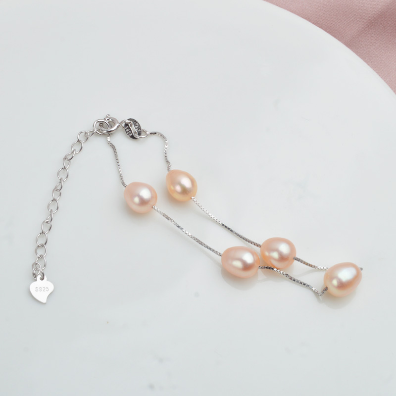 ASHIQI браслет из натурального 925 пробы серебра для женщин 7-8 мм натуральный пресноводный жемчуг ювелирные изделия 4 цвета