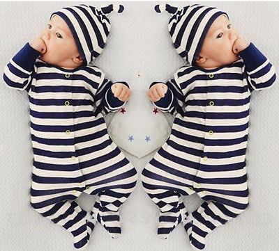 eddef01d5b0 Retail Baby Romper Infant Romper Newborn Boys Girls Polo Jumpsuit With Hat  Hoodie Striped romper Baby Girl Boy Clothing-in Rompers from Mother   Kids  on ...
