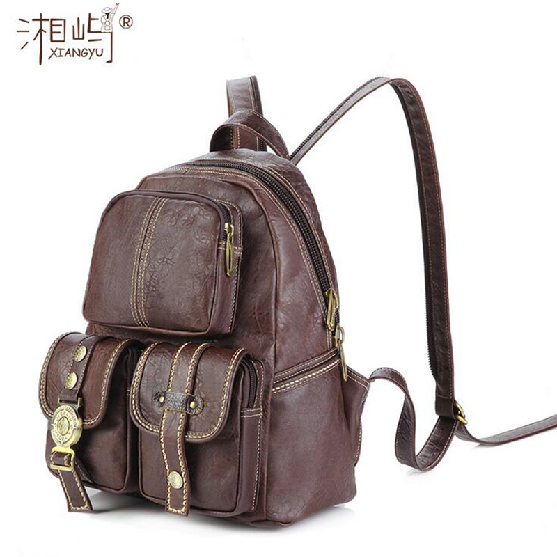 2017 High Quality New Vintage Women s PVC Backpacks Leather Brand Casual Fashion Trendy Waterproof Daypacks