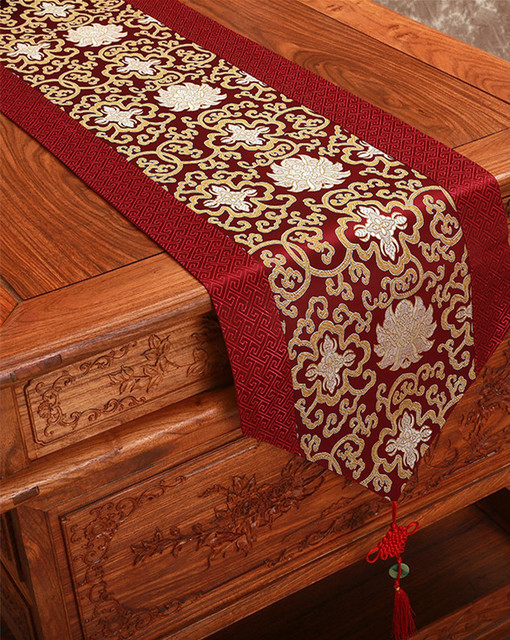Hy Fl Xmas Chinese Table Runner Decoration Silk Dining Protective Pads Rectangle Damask Cloth Runners