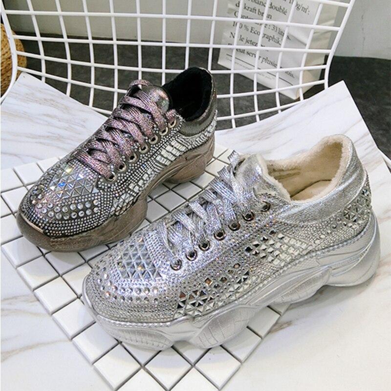 De En Lacets Mocassins vin Rouge Femmes Printemps Décontracté argent Plate Perlé marron forme 2019 Sneakers Chaussures Cuir Plats Noir Cristal mNvn0w8O