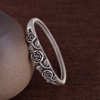 S925 sterling silver vintage fashion fresh rose woman's bracelet Thai silver matte bracelet