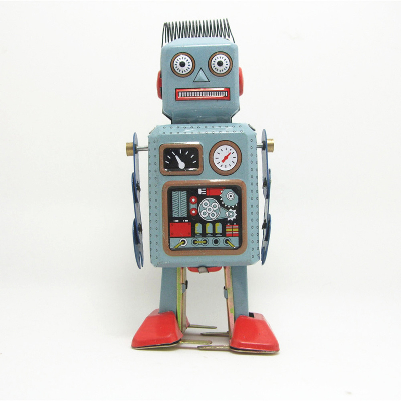 retro de la vendimia mecnica clockwork wind up metal walking robot tin toy nios regalo tiro