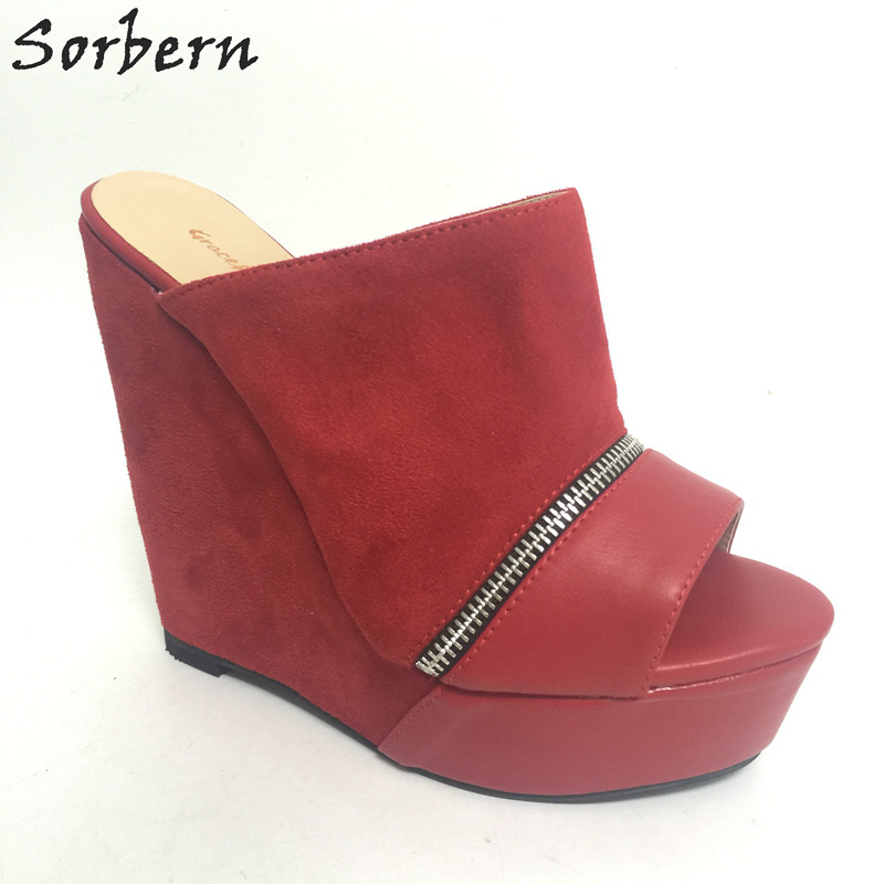 цена Sorbern Red Open Toe Summer Sandals For Women Slides Wedges Extrem High Heels Platforms Zipper Open Slippers Women Casual Shoes