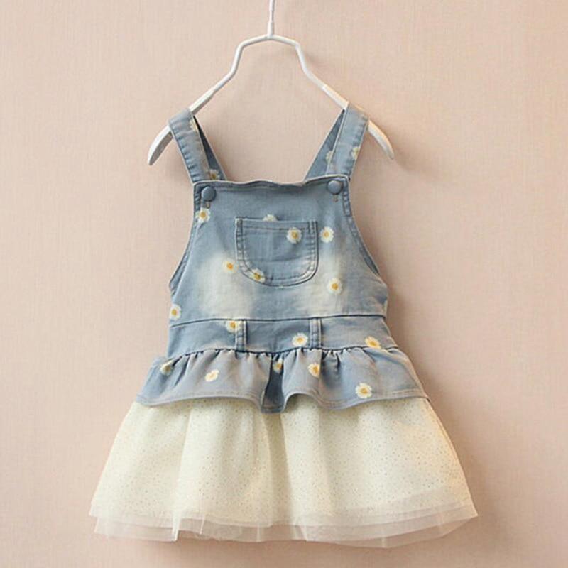 Baby Girl Dress Flowers Print Girls Straps Sleeveless Dress With Mesh 2018 Infant Clothing Bebe Denim Clothes Children Vestidos