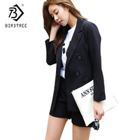 Two Pieces Set Women 2018 New Autumn And Winter Plus Size Fashion Double Breasted Blazer Shorts