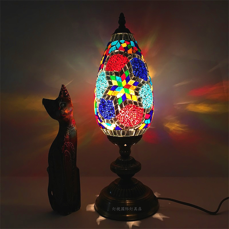 Turkish Mosaic Glass Ball LED Waterproof Solar Powered Table Lamps for Parties Decorations Xmas