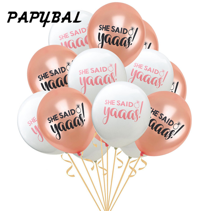 10pcs Bride To Be Balloons She Said Yaaas Balloons for Bridal Party Decoration Champagne Rose Gold Wedding Decor Balloons