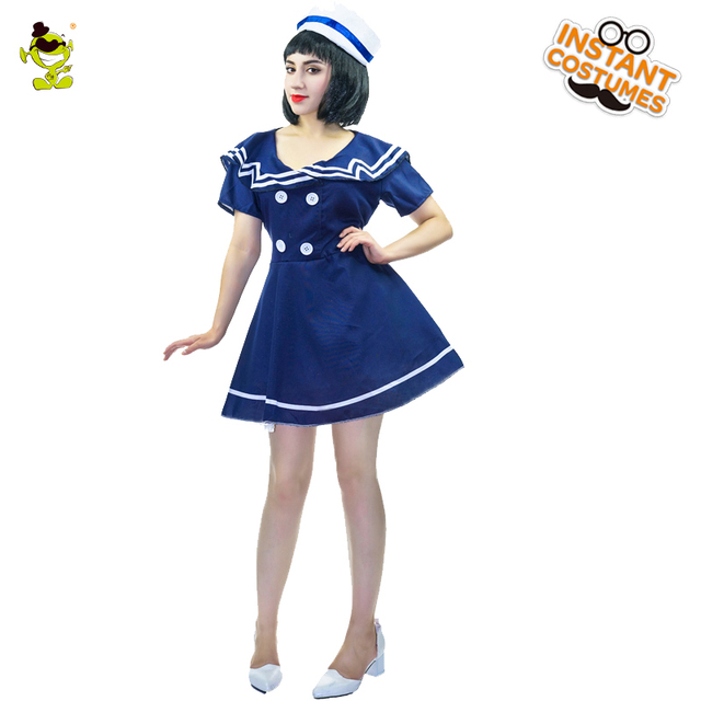 2018 Womens Sexy Blue Sailor Costume Adult Navy Uniform Glamourous Sea Girls Cosplay Fancy Dress For Halloween Career Party