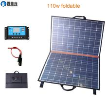 Xinpuguang 110W 18V Solar Panel Cell Charger System 100W Folding Portable Power Bank Controller USB for Battery Hiking Camping portable large capacity garden solar power bank panel 2 led lamp male female usb cable battery charger emergency lighting system