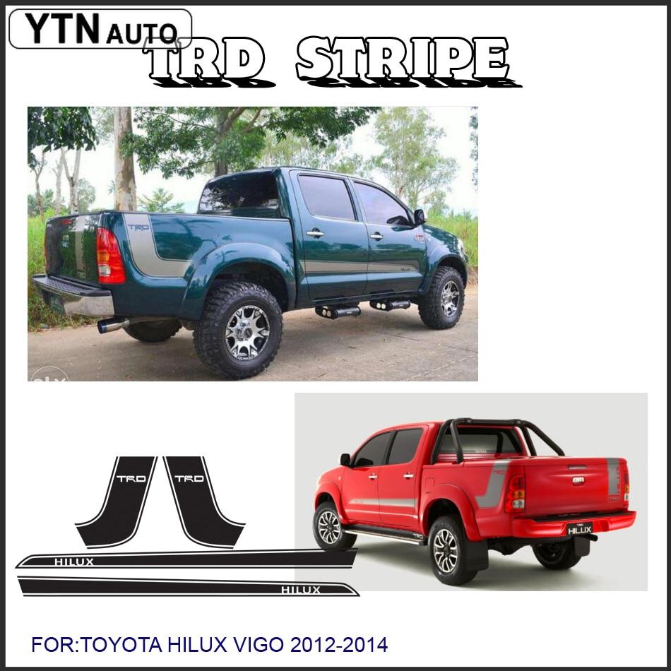 Araba çıkartmaları 4 ADET hilux yan şerit grafik Vinil araba aksesuarları çıkartmaları TOYOTA HILUX vigo revo için özel