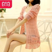 2018 Fashion Knitted Cardigan Loose Pocket Hollow Long Sleeve Women Sweater Female Cardigans Women's Coats Sweaters Outerwear(China)