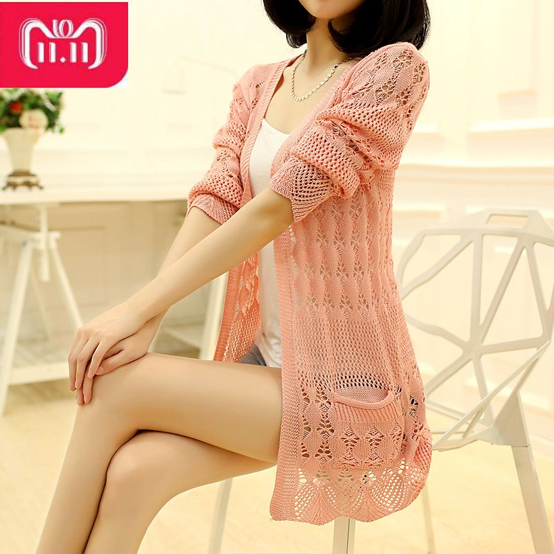 2018 Modni pleteni džemper labav džep šuplji dugi rukav žene pulover Ženski džemperi Ženski kaputi Džemperi