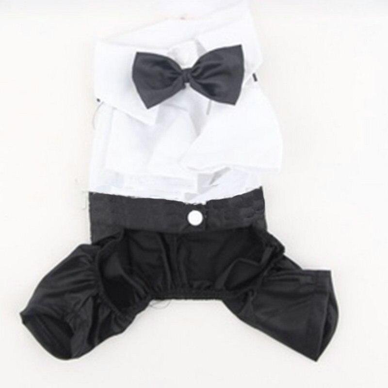 Pet Dog Cat Four Leg Pants Tuxedo Gentlemans Clothing Prince Cute Bow Tie Suit Puppy Costume Jumpsuit Coat