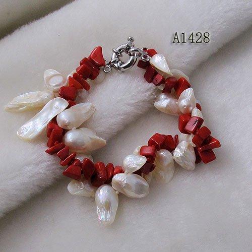 b7c68204ca88 Nuevo estilo de la mezcla color coral rojo Natural Fresh perlas de agua  pulsera venta al