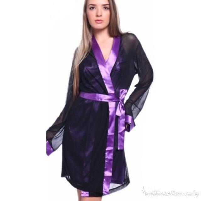 Women Homewear Summer Vintage Imitation Silk Gown Black Yarn Silky Bathrobe Sexy Transparent Bathrobe Dress Elegant Nightdress