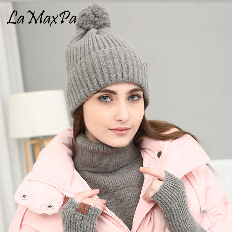 LaMaxPa 2018 New Fashion Solid Thick Women Scarf, Hat & Glove Sets Pompom Ring 3Pcs Knitted Winter Warm Beanis Wrap Dropshipping