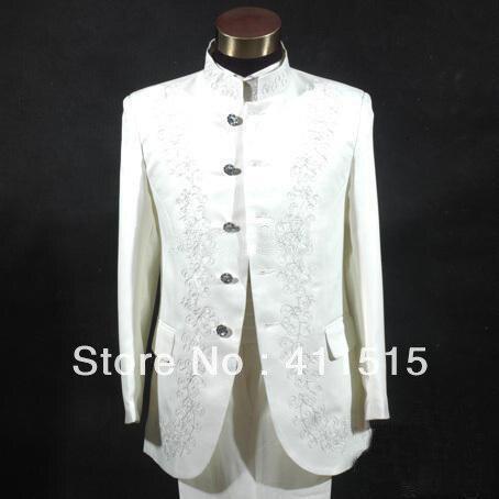 FREE Shipping!White Embroidery Groom Tuxedos Best Man Mandarin Lapel!!!Groomsmen Men Wedding Groom Suits Dress/custom Dress