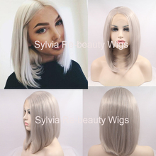 natural look silver grey short silky straight synthetic lace front wig high quality grey bob heat resistant fiber hair wigs