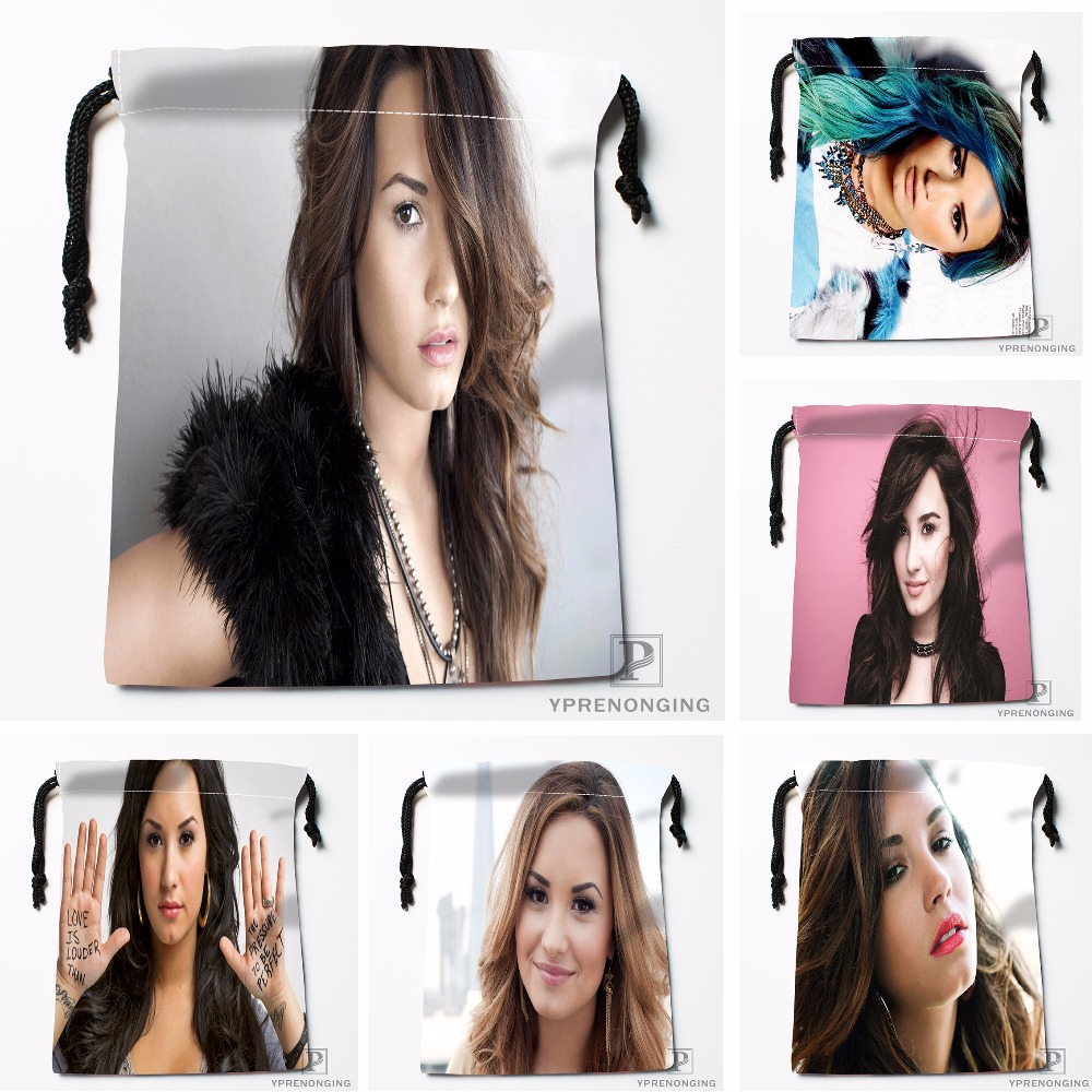 Custom Demi Lovato Drawstring Bags Printing Travel Storage Mini Pouch Swim Hiking Toy Bag Size 18x22cm#180412-11-72