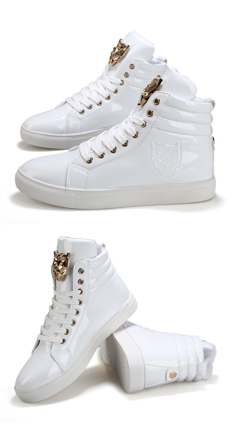 Fashion Leopard Sequined Skate Shoes For Men Ankle Boots 2015 New PU Patent Leather Shoe High Top Casual Flats Medusa Shoes F184 (10)