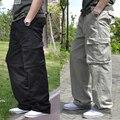 O envio gratuito de Verão finas calças casuais masculinos plus size multi-bolso ferramental calças de gordura 100% algodão carga calças compridas L-6XL