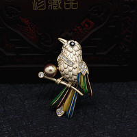 2017 New Women Inlaid Pearl Colored Parrot Brooches Safety Pin Brooch Retro Jewelry Vintage Acrylic Jewelry