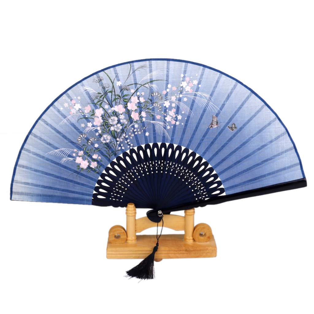 Hot Gifts Linen Butterfly Flowers Hand Fan Lacquer Handle Japanese