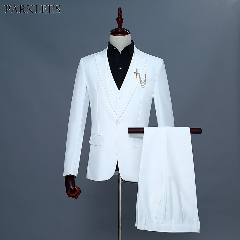 White 3 Piece Suit (Jacket+Vest+Pants) Men 2019 Fashion New One Button Slim Fit Wedding Groom Tuxedo Suits For Men Costume Homme