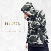 Oversize Longline Camouflage Hoodie Army Green Red Ribbon Military Camo Pullover Sweatshirt Brand Men Gothic Hip