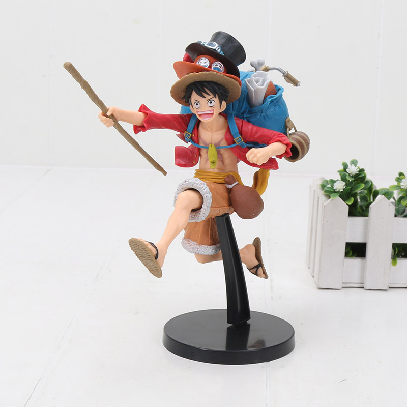 Us 13 15 24 Off Anime One Piece Figure Monkey D Luffy With 3 Hats Ace Sabo Hat Pvc Action Figures Collectible Models Toys Gift 18cm In Action Toy