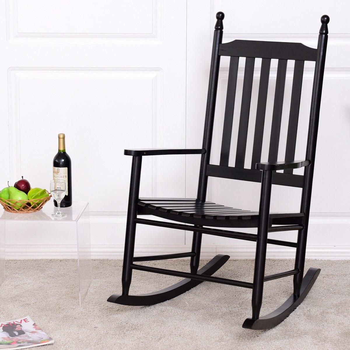 Giantex Wooden Rocking Chair Porch Rocker Modern Armchair Balcony Deck Garden Furniture HW56354BK цена и фото