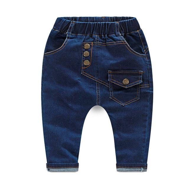 2015 Niños Del Otoño Ropa Del Muchacho Pantalones Patrón de la Letra Azul Oscuro Pantalones Vaqueros de Los Bebés Del Niño Pantalones de Harén Niños Pantalones de Mezclilla Ocasional