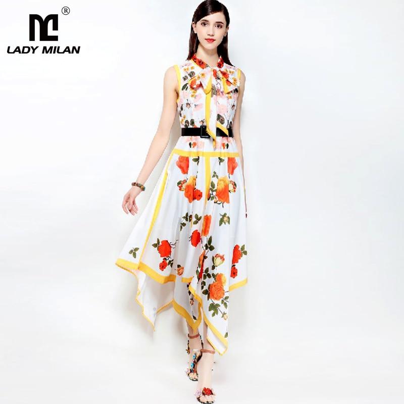 New Arrival 2018 Womens Floral Printed Sash Bow Sleeveless Asymmetric Fashion Designer Dresses