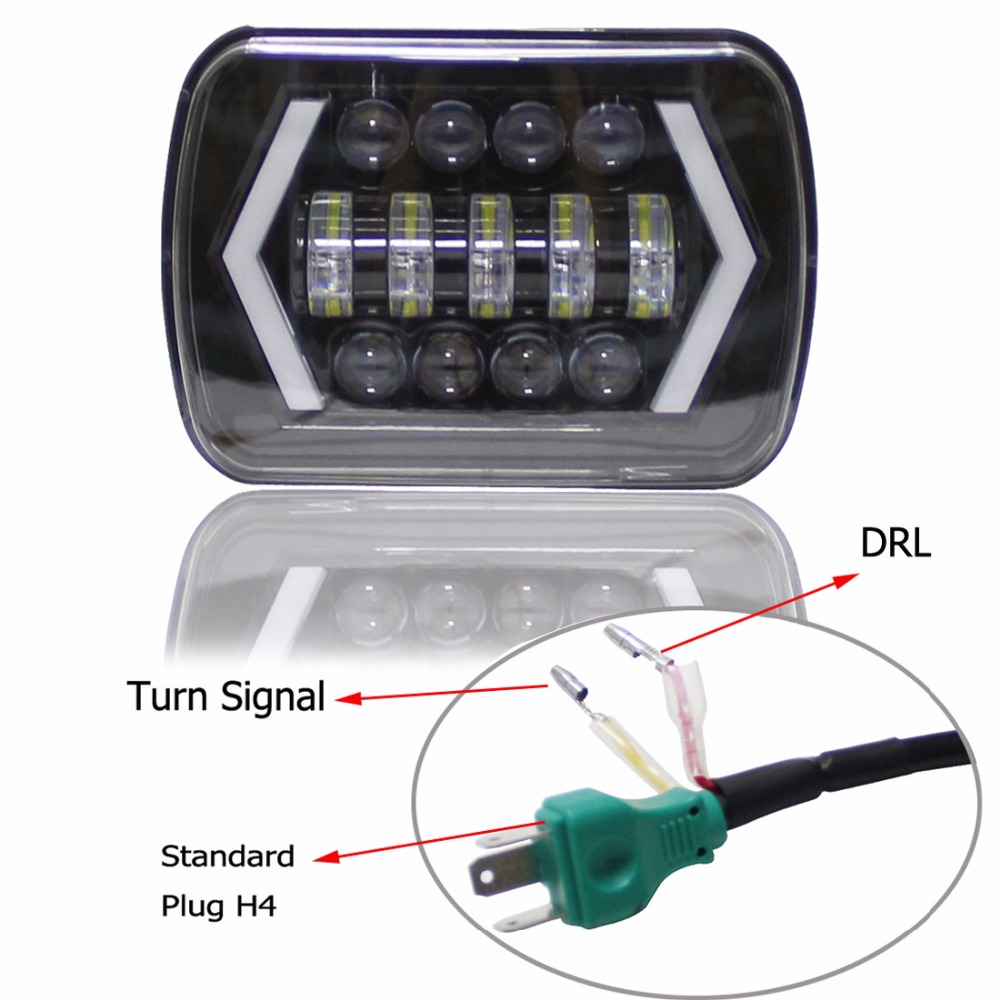 5x7 Inch Led Light Black Rectangular Headlight For Jeep Wrangler XJ MJ Truck 4x4 Arrow DRL Off Road 5x7 Headlights
