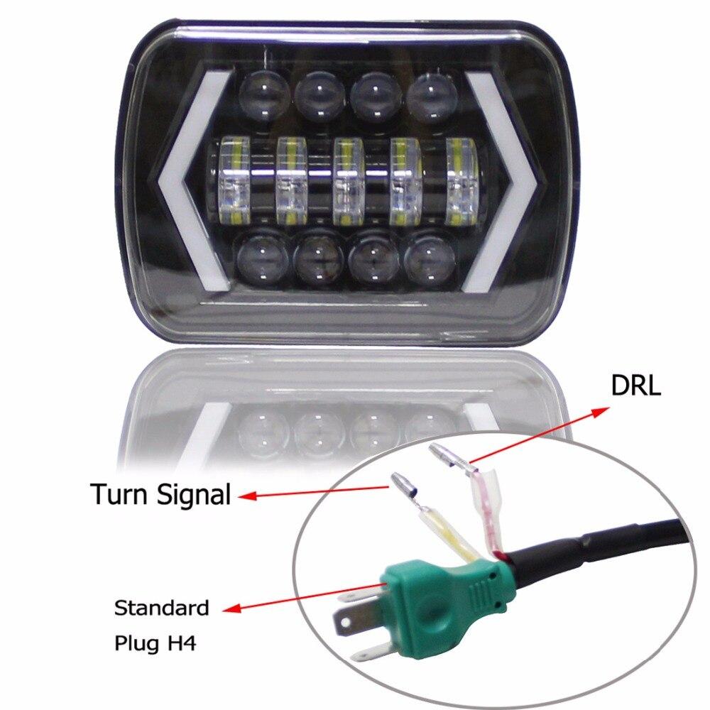 5x7 Pouces Led Lumière Noir Rectangulaire Phare Pour Jeep Wrangler XJ MJ Camion 4x4 Flèche DRL hors Route 5 x 7 phares