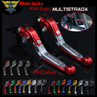 RiderJacky LOGO MULTISTRADA Motorcycle CNC Brake Clutch Levers For Ducati Multistrada 1000 DS 2003 2005 2004 Adjustable