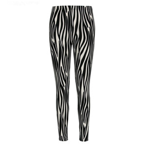 Image 5 - Schwarz und Weiß Vertikale Gestreiften Gedruckt Frauen Leggings Mode Casual Elastizität Knöchel Länge Hose Weibliche Fitnes Legging