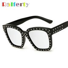 9c69313b2abb7 Ralferty Hip Hop Superdimensionada Espelhado Óculos De Sol Dos Homens Das  Mulheres Quadrado Preto Quadro Rebite Óculos de Sol Ma.