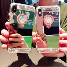 Fashion Diamond Plating Mirror Ring bracket phone cases For iPhone X XS Max XR 8 7 6 6S Plus 5 5S SE Stand Cover Shell цена и фото