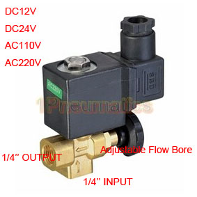 Free Shipping 2/2 Way 1/4 Thread Direct Acting Brass Material Manual Adjustable Solenoid Valve Water 1PC-DL-08