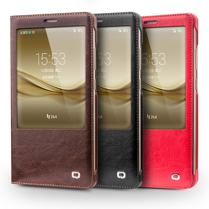 QIALINO 2016 Case for Huawei Ascend Mate 8 Hot Luxury Real Leather Cover for huawei Mate8 Flip Smart Case sleep wake function ...