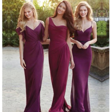 2016 Hot Sale Elegant Dark Red Chiffon Simple Fashion Long  Bridesmaid Dresses Glamorous V-Neck Bridesmaid Dress