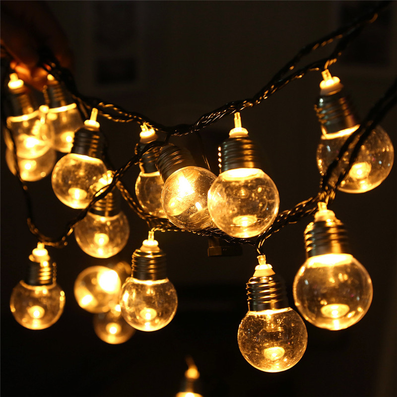 220V 20 LED Light Bulb Ball String Fairy Lights For Bedroom Xmas Wedding Part Lamp Tiny String Fairy Light for Party Decoration