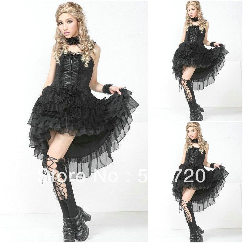EN Vente! Livraison gratuite Sexy noir classique à manches longues gothique robe Lolita/robe victorienne cosplay