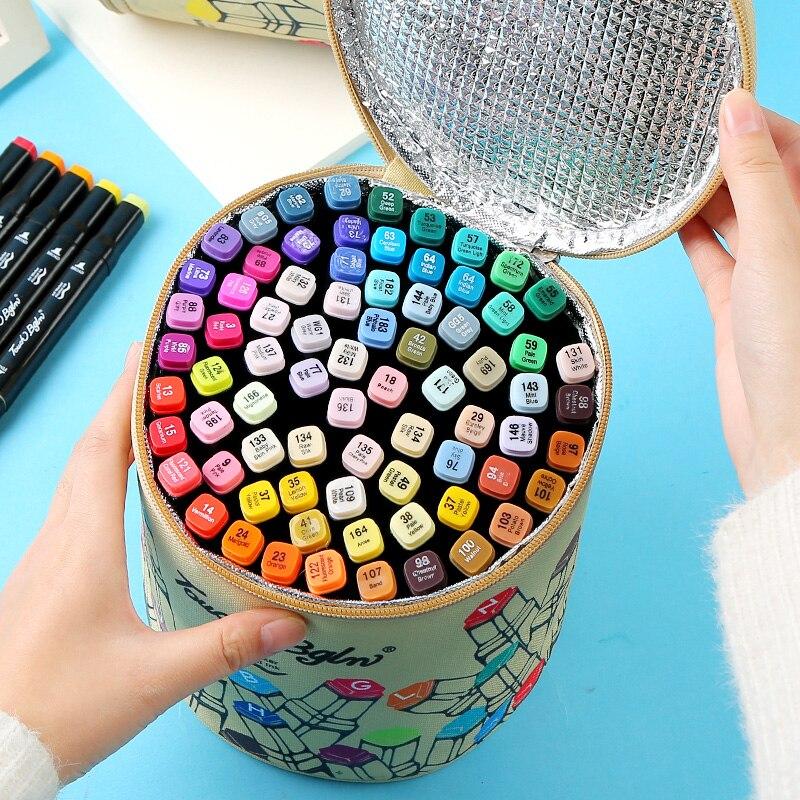 Mark pen set véritable étudiant anime avec peint à la main 60/80 couleur mise à niveau sac de couleur pinceau stylo art fournitures