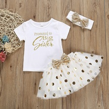 Summer Kids Baby Girl Short Sleeve Sets Letter Print T-shirt Blouse+Skirts With Bowknot+Headband Casual Outfits Set 1