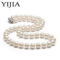 YIJIA Perfctly Round Pearl Necklace Women Necklace Freshwater White Pearl Classic Costume Jewelery Necklace 925 Sterling Silver